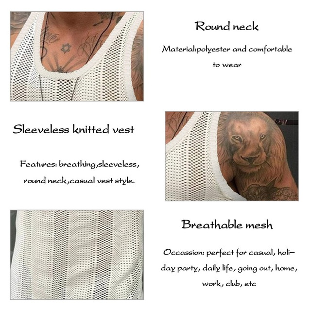 Men Vests Summer Sleeveless Shirts Gym Clothing Men Stripped Sports Casual Fitness Knit Tanks Slim Fit Mens Bodybuilding Tops 3