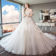 Wedding Dress Bride Trailing Princess Dream European and American Court Was Thin Light Free Custom made Plus Size