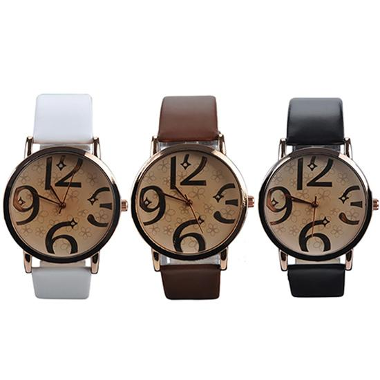 Unisex Fashion Big Arabic Numerals Analog Faux Leather Band Quartz Wrist Watch Watch Women Zegarek Damski Fashion Watch For Love