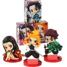 3 pçs 7cm q posket demon slayer figuras tanjirou kamado nezuko rengoku kyoujurou kimetsu não yaiba anime modelo bonecas