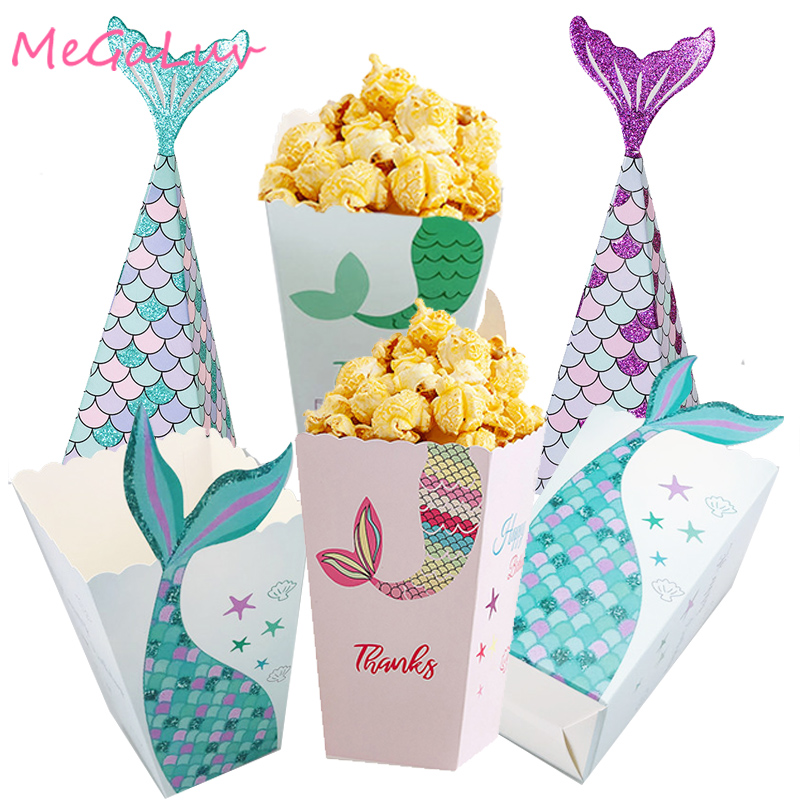 6/5pcs Purple Green Mermaid Popcorn Boxes Candy Bags Holder Popcorn Containers for Kids Mermaid Party Birthday Party Supplies