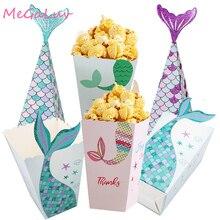 Boîtes à Popcorn, violet vert, vert, sirène, sacs à bonbons, conteneurs à Popcorn pour enfants, fournitures pour fête d'anniversaire, sirène 6/5 pièces