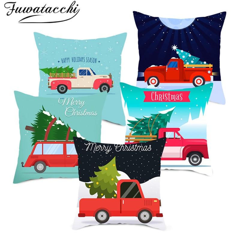 Fuwatacchi Caminhão Vermelho Lance Fronhas Capa de Almofada Decorativa Capas de Almofadas para o Sofá de Casa Da Árvore de Natal do Presente Do Ano Novo 45*45cm