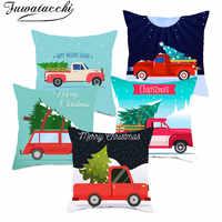 Fuwatacchi Roten Lkw Kissenbezüge Weihnachten Baum Kissen Abdeckung Dekorative Kissen Abdeckungen für Home Sofa Neue Jahr Geschenk 45*45cm