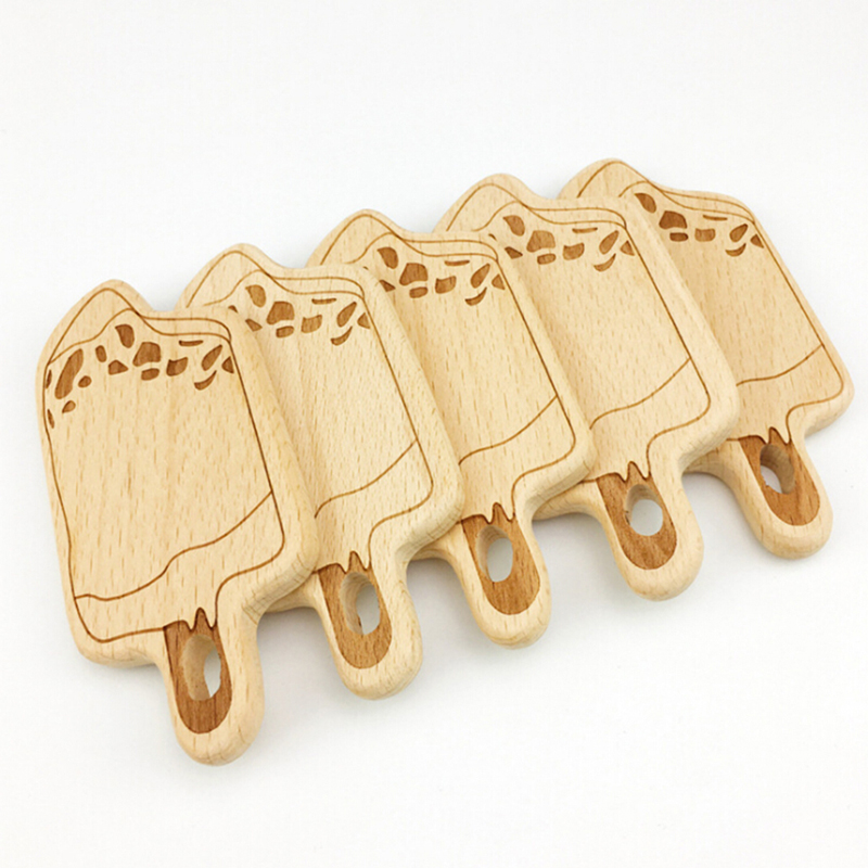 DIY Buche Holz Handwerk Dekoration Dental Molar Zahn Baby Kleinkind Zahnen Beißring Spielzeug Holz Neue Ankunft