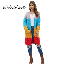 Fashion Cardigan Long Sleeve Multicolor Color Patchwork Sweater Oversized Knitted Autumn Winter Clothes Women With Pocket tassel patchwork knitted sweater for women faux cashmere cardigan autumn winter letter pocket feminino coat oversized sweaters
