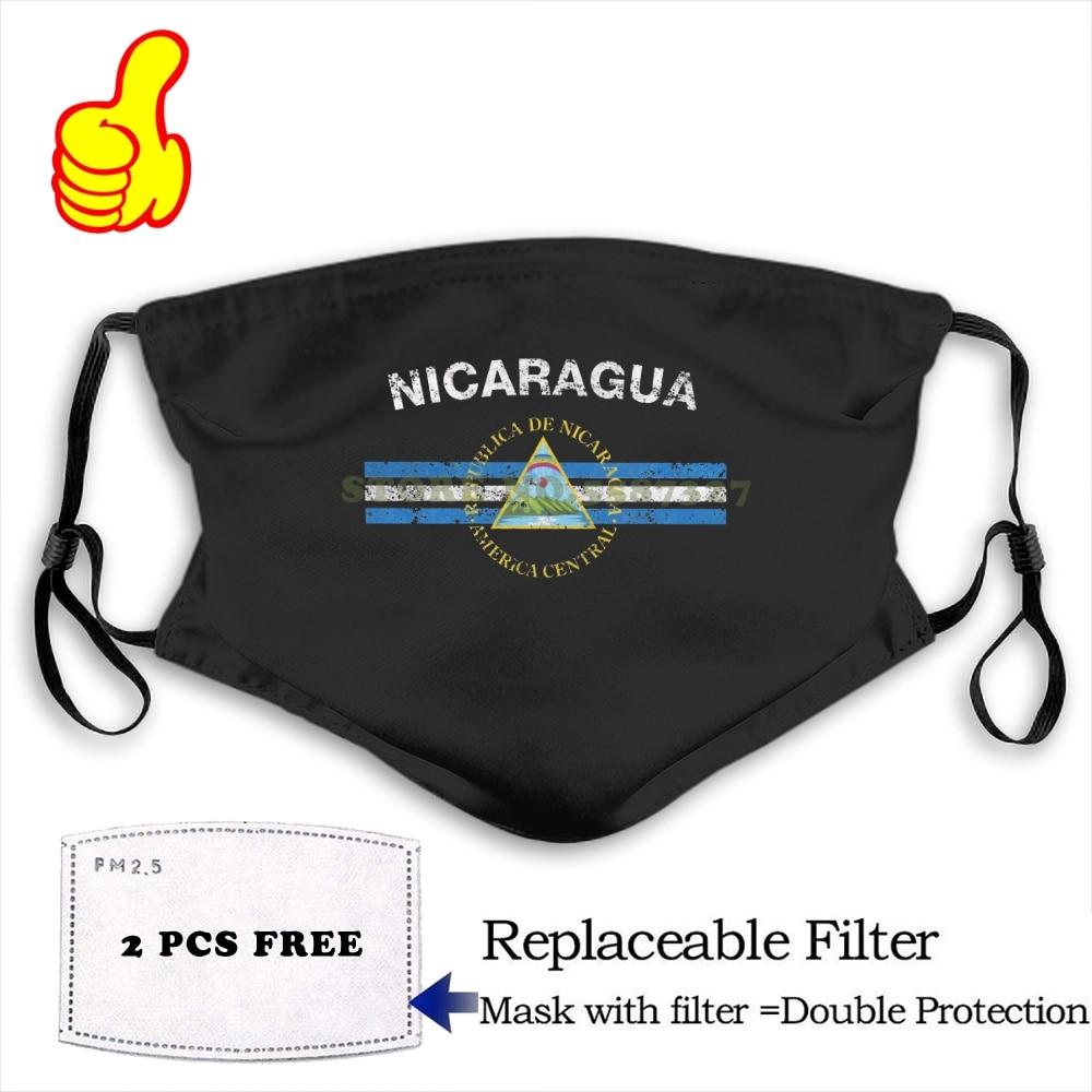 Face Mask Nicaraguan Flag - Nicaraguan Emblem & Nicaragua Flag  Fashion Funny Design Black Reusable Protective Masks