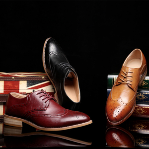 Image 1 - 2020 Men leather shoes casual genuine leather fashion high quality luxury designer Men Brogue Shoes