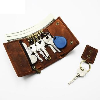 Prawdziwy skórzany na klucze torba Unisex etui na klucze wielofunkcyjny Organizer portfel mężczyźni brelok gospodyni małe etui na klucze etui na klucze tanie i dobre opinie CN (pochodzenie) PRAWDZIWA SKÓRA Skóra bydlęca 10cm Y9069 vintage poduszka leather Stałe brown