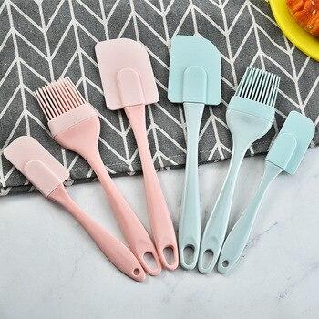 3Pcs/Set  Kitchen Utensils Cooking Supplies Multi Purpose Blue/Pink Cake Spatula Baking Tools Silicone/PP  Non-stick