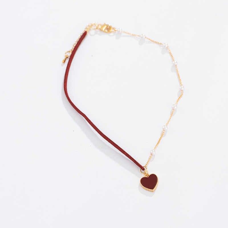 หัวใจสีแดงมุกเรียบง่ายสร้อยคอแฟชั่นผู้หญิงสร้อยคอขายส่ง