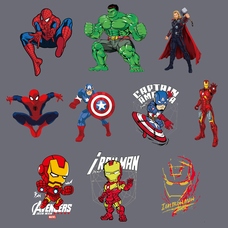 Marvels Avengers Raytheon Spiderman <font><b>Ironman</b></font> Iron on Clothes Stickers Heat-Sensitive <font><b>Patch</b></font> Application of Applique Heat Transfer image