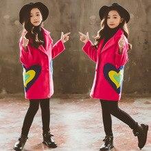 Autumn Winter Fashion Girls Woolen Coat Cute Big Girl Printed Outerwear Clothes Warm Coats