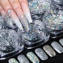 8 sztuk laserowe cekiny do paznokci srebrny błyszczący chromowany Pigment Holo Rainbow Paillette płatki lustro w proszku Nail Art pył JI1506 13