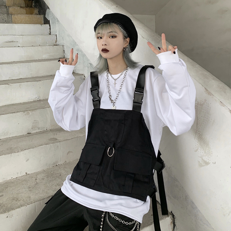 Harajuku Style Vest Men Women Sleeveless Jacket Streetwear Adjustable Fashion Waist Coat Pockets Hip Hop Tactical Jackets Black