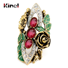 Kinel Luxury Women Rings Vintage Jewelry Antique Gold Color Mosaic Red Zircon Green Enamel Bride Wedding Ring Christmas Gift