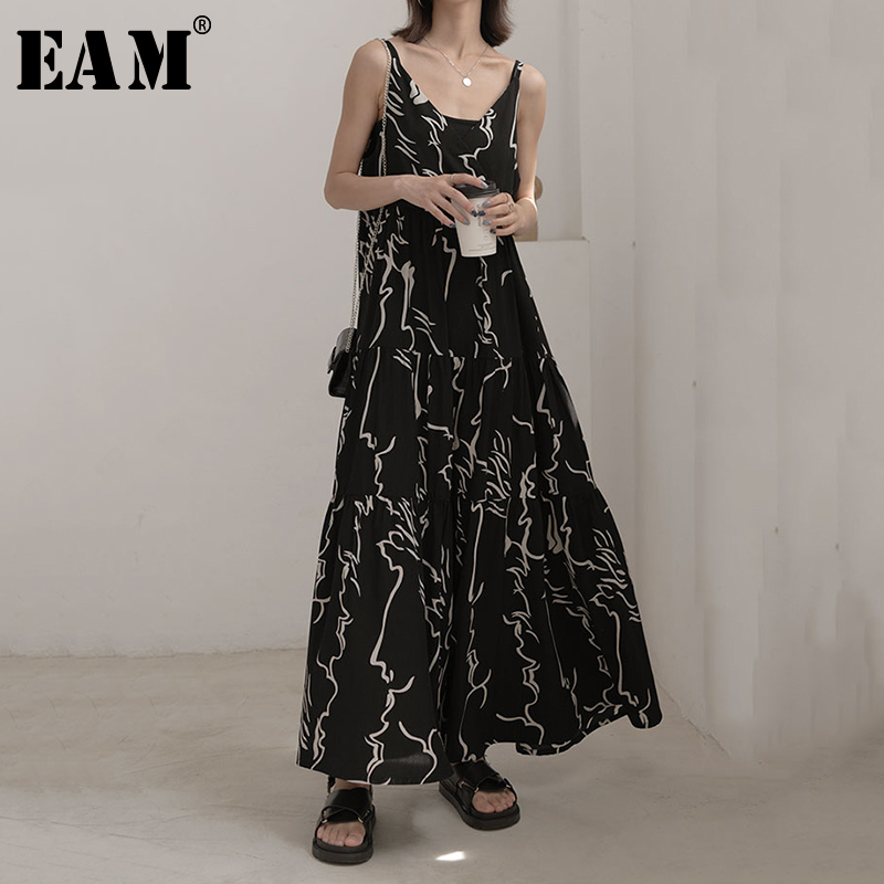 [EAM] Women  Spaghetti Strap Black Pattern Print Long Dress New Sleeveless Loose Fit Fashion Tide Spring Autumn 2020 JZ457