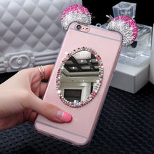 Cases For Samsung S6 edge S7 S8 S9 Plus Note 3 4 5 8 Diamond Mouse mickey head phone case with love cat finger ring back cover(China)