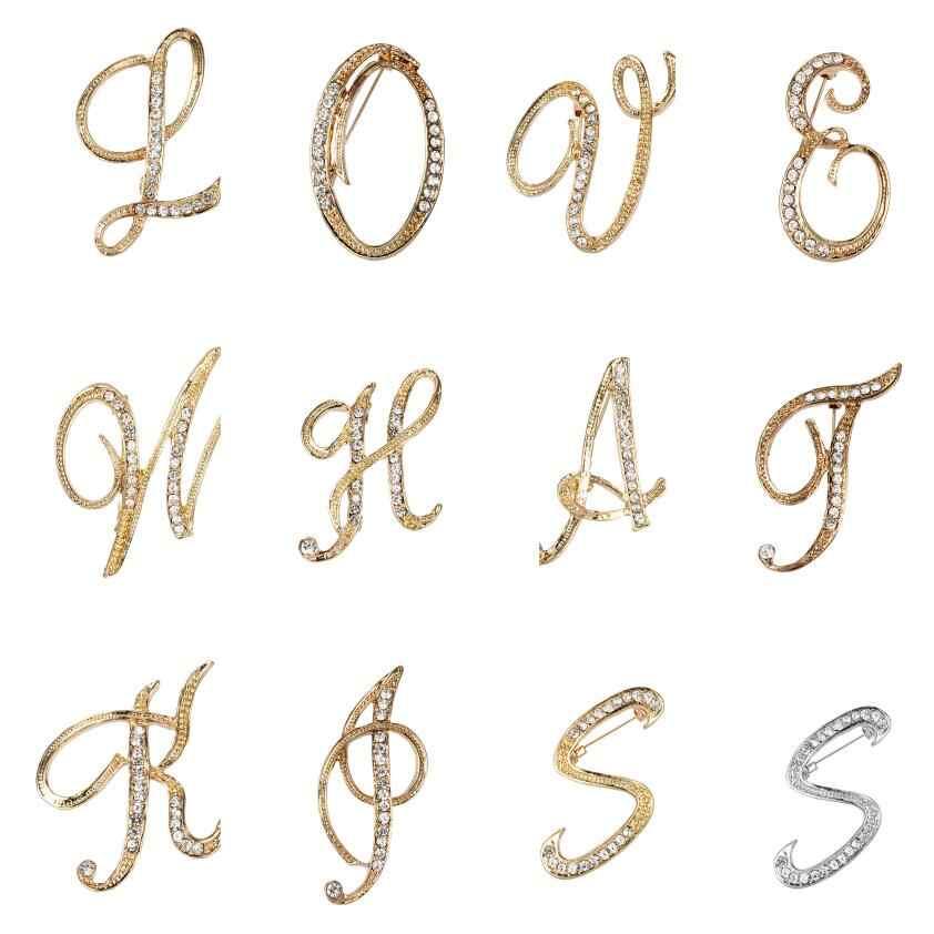 WEIMANJINGDIAN מותג 26 ראשוני מכתבים לZ ברור קריסטל ריינסטון סיכת סיכות לנשים תכשיטי ב זהב צבע מצופה