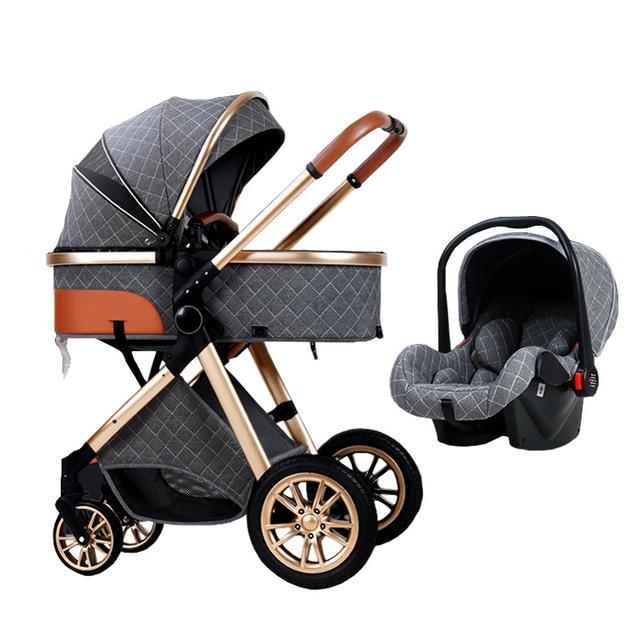 3 em 1 carrinho de bebê luxo alta paisagem carrinho de bebê portátil carrinho de bebê kinderwagen bebê berço dobrável carro novo 3