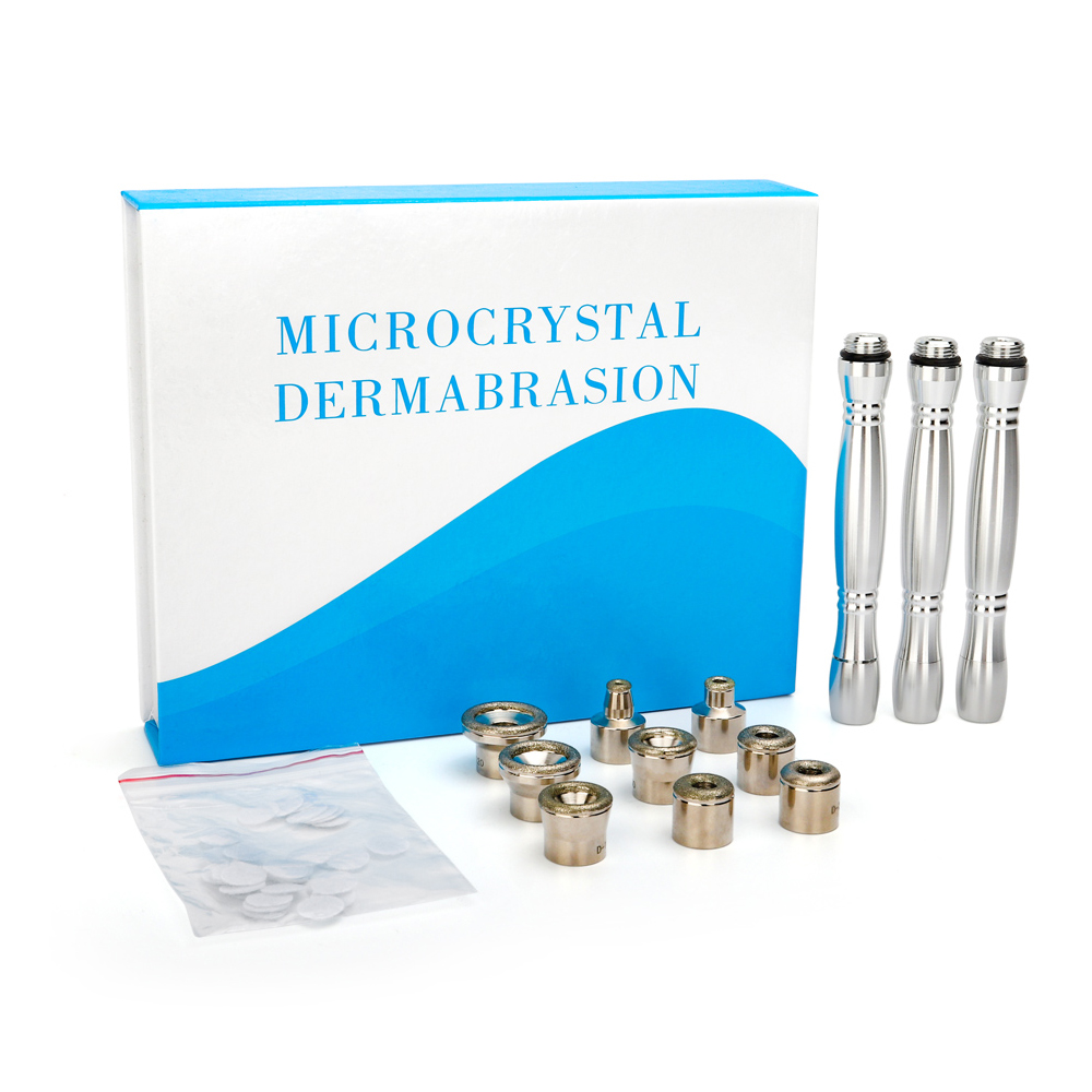 Diamond Microdermabrasion 9 Tips 3 Wands Cotton Filter Dermabrasion Tip For Facial Skin Peeling Blackhead Remover Face Care