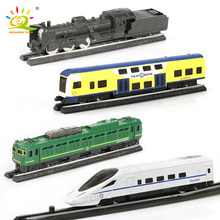 HUIQIBAO لعب 4 قطعة/المجموعة محاكاة المعادن البخار البضائع Diecasts قطار عالية السرعة السكك الحديدية سبائك السكك الحديدية بالقصور الذاتي سيارات لعبة للأطفال