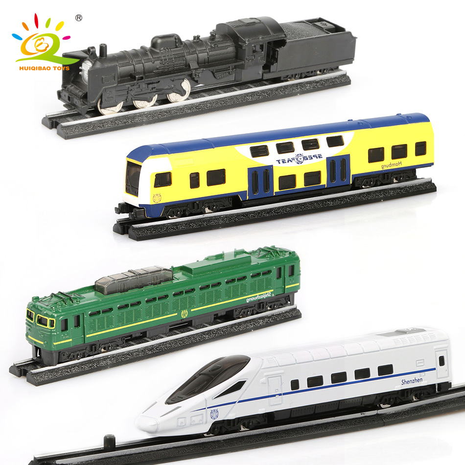 HUIQIBAO TOYS 4pcs/set Simulation Metal Steam Cargo Diecasts Train High Speed Rail Alloy Railway Inertial Cars Toys For Children
