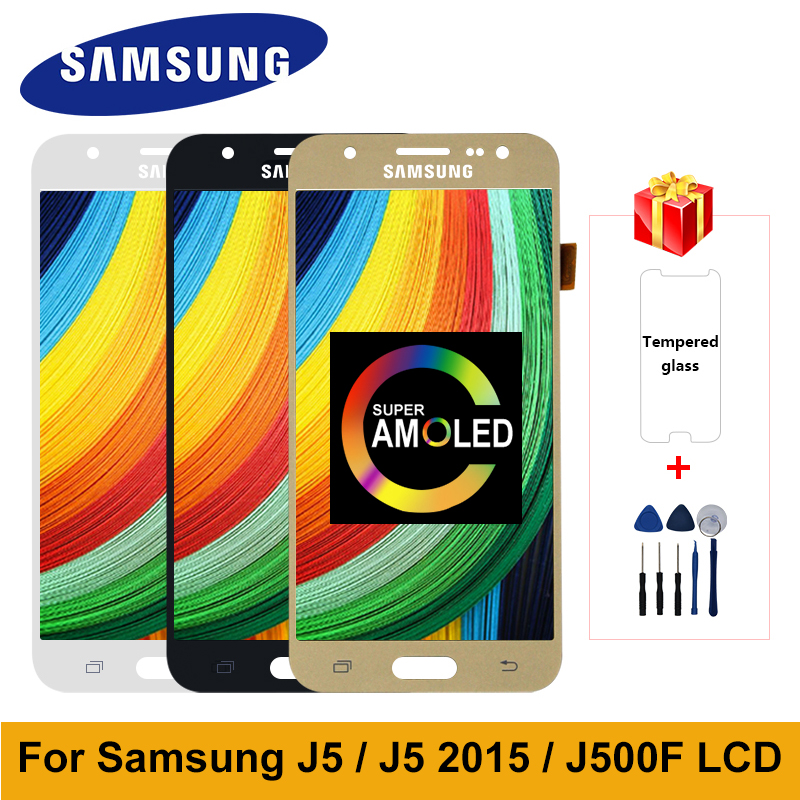 Super AMOLED For Samsung Galaxy <font><b>J5</b></font> 2015 <font><b>Display</b></font> SM-J500H J500F J500FM J500Y LCD <font><b>Display</b></font> Touch Screen Digitizer For <font><b>J500</b></font> LCD image