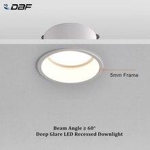 [DBF] okrągły głęboki blask oprawa wpuszczana możliwość przyciemniania 5W 7W 12W 15W oświetlenie sufitowe LED punktowe na dom ganek korytarz nawy tło