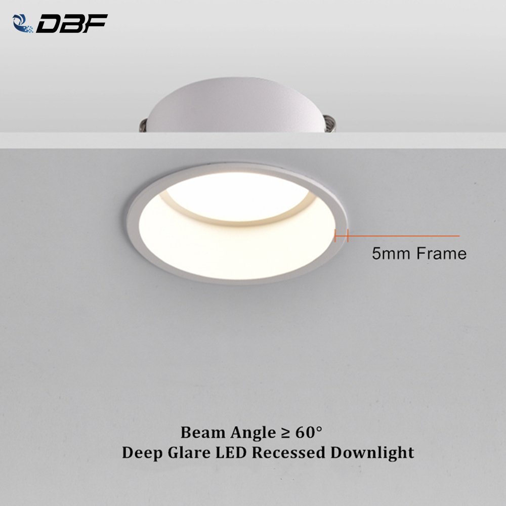 DBF Round Deep Glare Recessed Downlight Dimmable 5W 7W 12W 15W LED Ceiling Spot Light for Home Porch Corridor Aisle Background