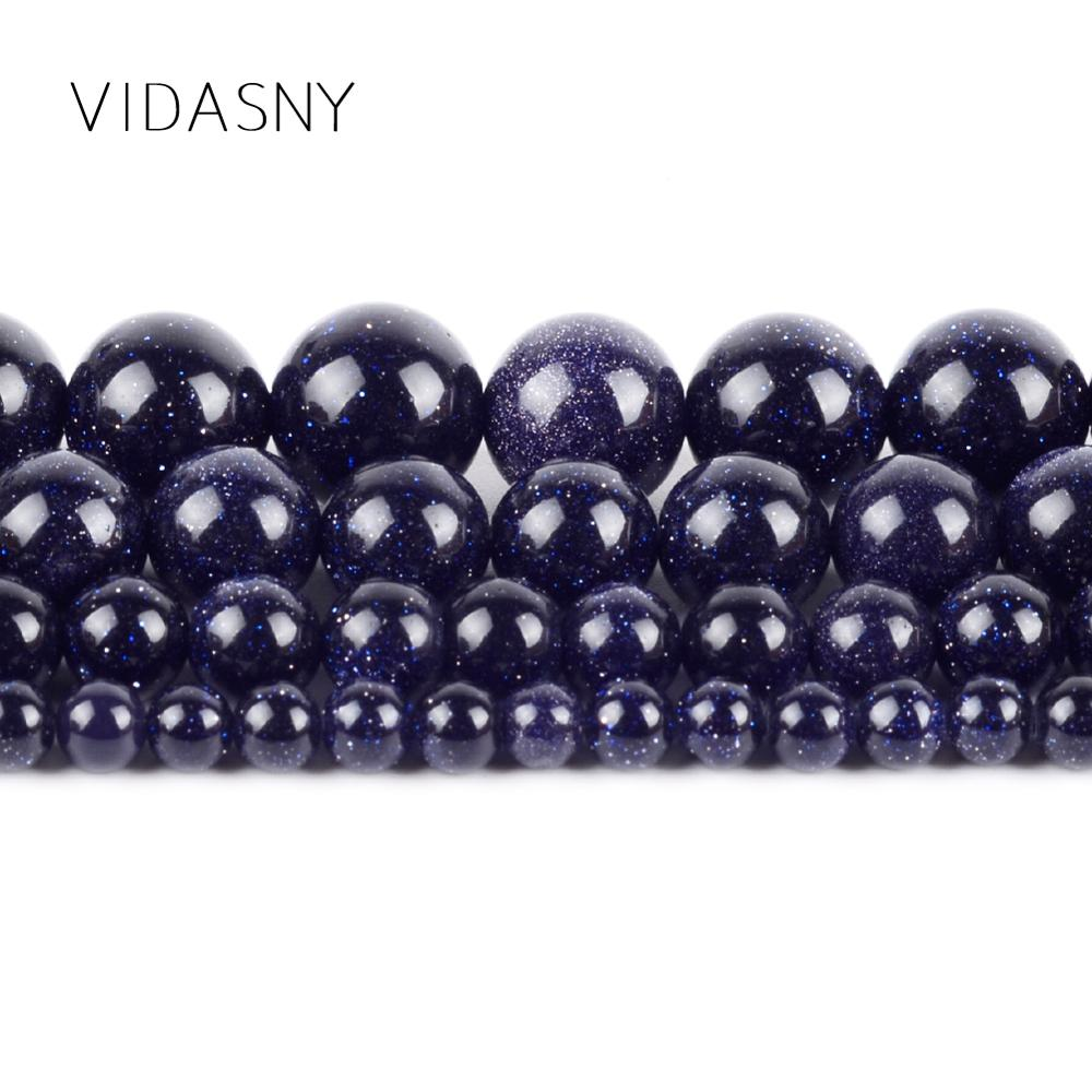 Natural Blue Sand Stone Beads Minerals Round Spacer Beads For Jewelry Making 4 12mm Diy Bracelet Necklace 15 39 39 Wholesale in Beads from Jewelry amp Accessories
