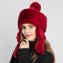 Russian Winter Warm Bomber Hat with Earflaps for Women Knitted Faux Rabbit Fur Hats Caps Female Princess Pom pom