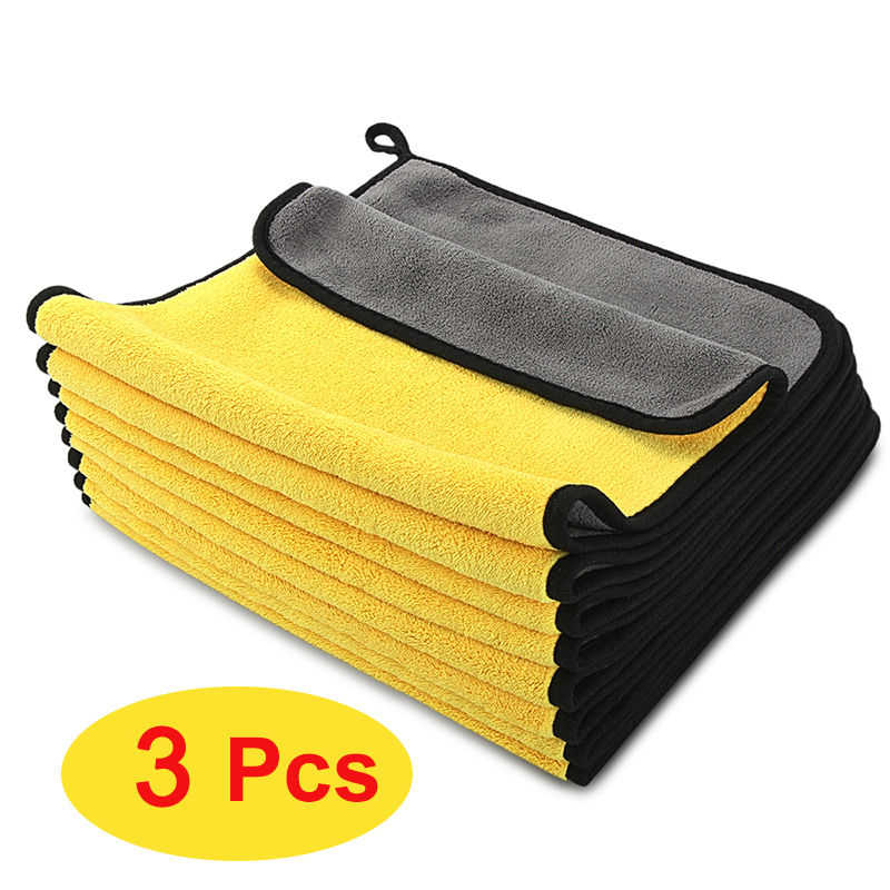 Banner 3pcs Car Detailing Microfiber Towel Coral Fleece Absorbent Car Wash Towel Multifunctional Cleaning Towel Suitable for Auto