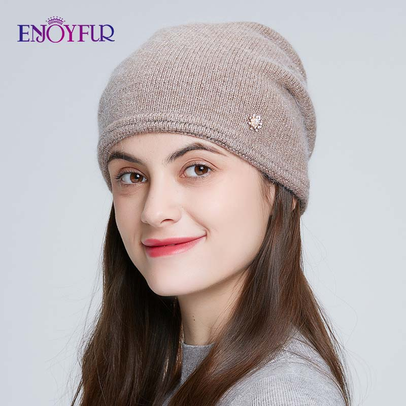 ENJOYFUR Winter Hats For Women Knitted Angora Rabbit Fur Beanies Warm Double Layer Female Cap For Autumn