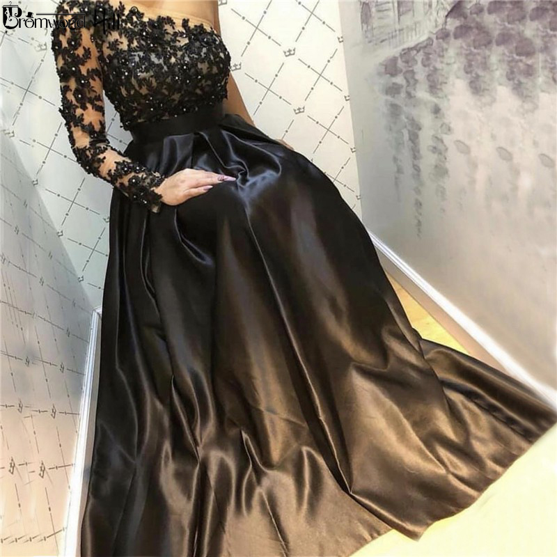 Black Formal Dress One Shoulder Sexy A-Line Long Sleeve Evening Dresses 2019 Handmade Flowers Crystal Satin Lace Evening Gowns