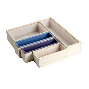 Silicone Soap Mold Flexible Loaf Mould with Wooden Box DIY Handmade Soap Making Tool