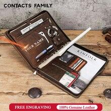 Cartella di Cuoio genuino B5 Legante Padfolio Portafoglio Con Zip Scrivere Documenti e Blocchetto Per Appunti per il Caso del iPad Pro 10.5 10.2 11 Aria 2