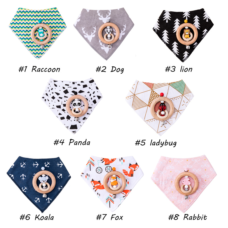 Baby Bib Cotton Cartoon Wooden Rattle1PC Beech Wooden Rings Animals Shape Infant Products For 0-12 Months Newborn