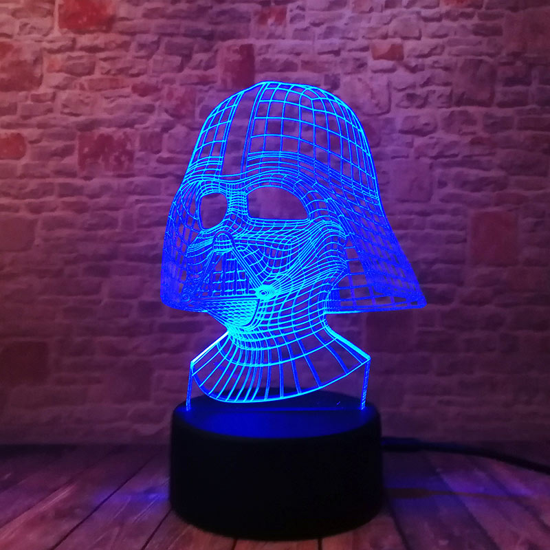 Cool LED Luminous Nightlight 7 Colourful Changing Light Black Knight Star Wars Darth Vader Mask action & toy figures 2