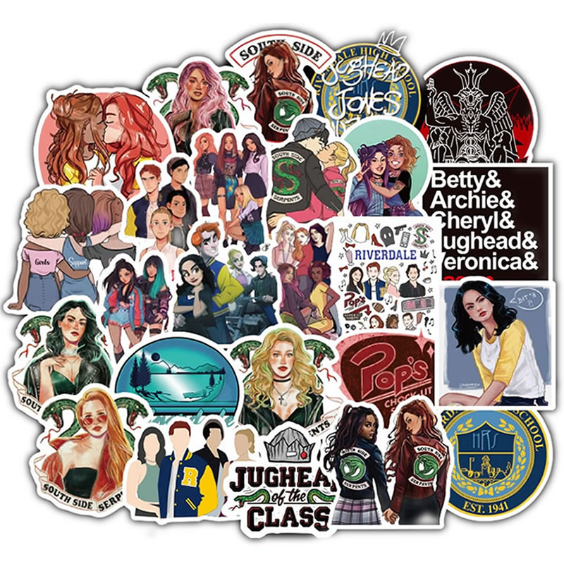 50pcs/Pack Cute Waterproof Riverdale Girl Stickers Skateboard Guitar Suitcase Motorcycle Funny Graffiti Sticker Kid Classic Toy