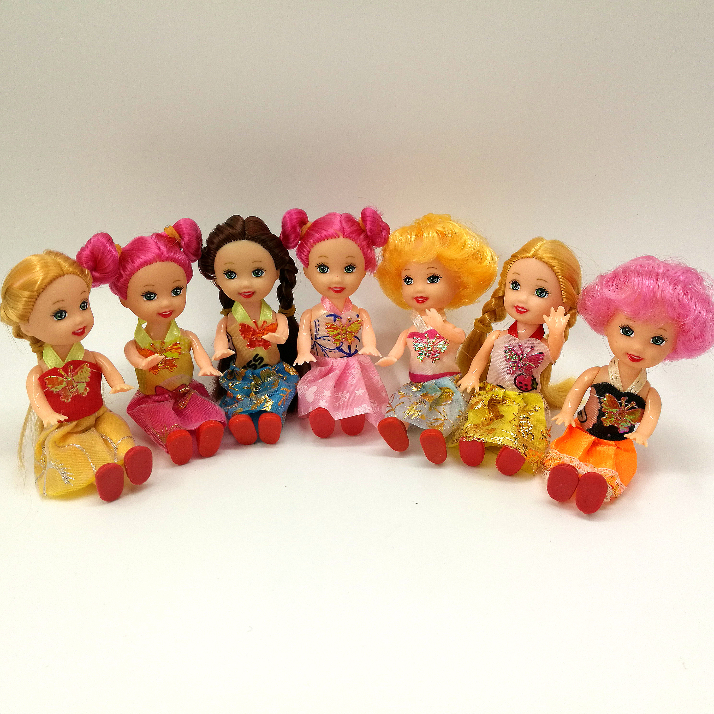 2pcs Fashion Mini Dolls For Girls Curly White Pink Brown Hair
