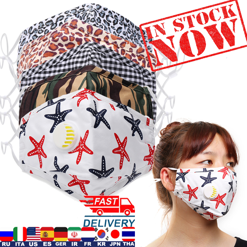 New PM2.5 Washable Face Mask For Woman Man 2020 Washable Cotton Mouth Masks Filter Pad Pollution Activated Carbon Filter