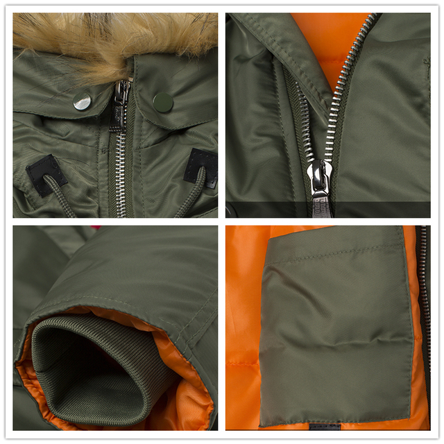 2020 Winter N3B puffer men long Куртка аляска coat military fur hood warm tactical bomber army korean thick parka 6