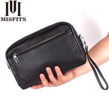 Men's Business Clutch Wallet Men's Shoulder Bag Diagonal Bag Leather Wrist Money Bag Genuine Leather Zipper Business Bag