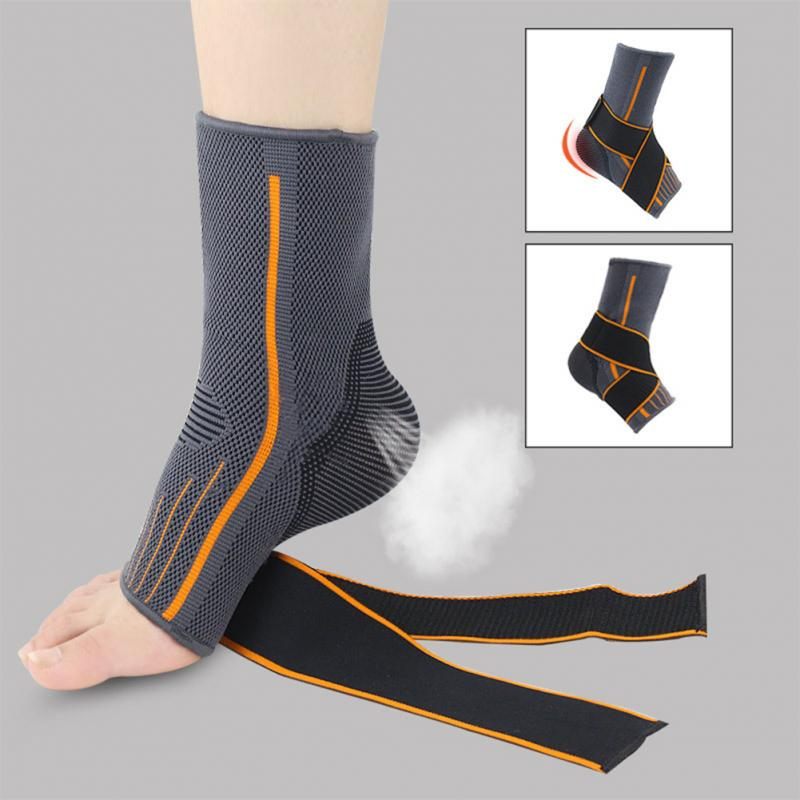 1pc Brace Nylon Sports Breathable Magic Sticker Protector Sprain Prevention Running Striped Elastic Ankle Support