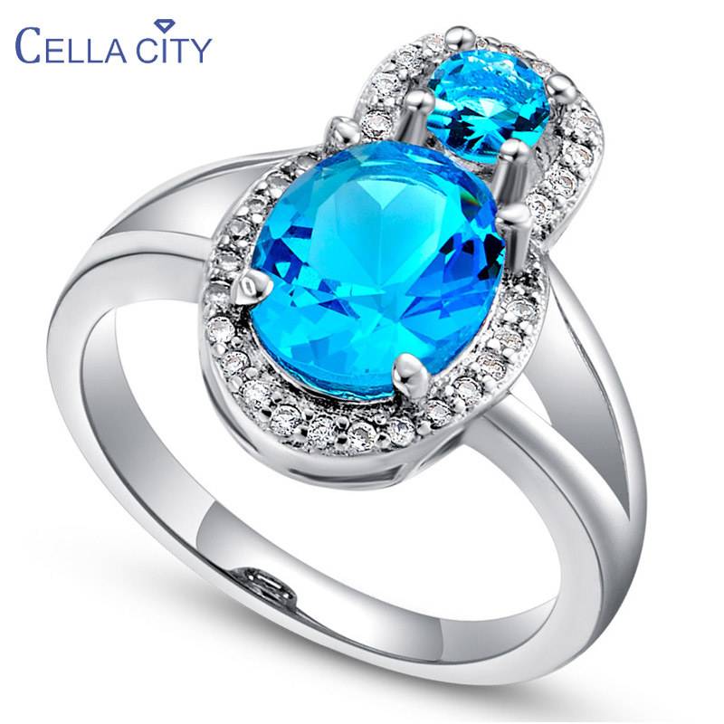 Cellacity Gourd shaped Silver 925 Ring for Women Fine Jewelry with Gemstones Aquamarine Ruby Amethyst Pink crystal Party Rings