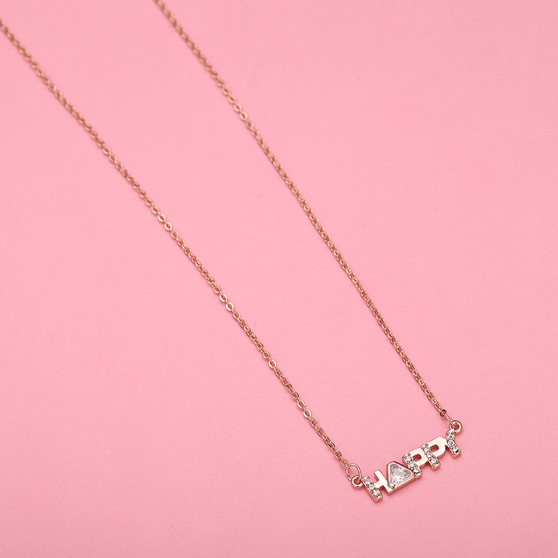 High quality SWA original jewelry worship Happiness Letter Pendant chain clavicle chain Happy Jewelry Lady 39 s Necklace in Chain Necklaces from Jewelry amp Accessories
