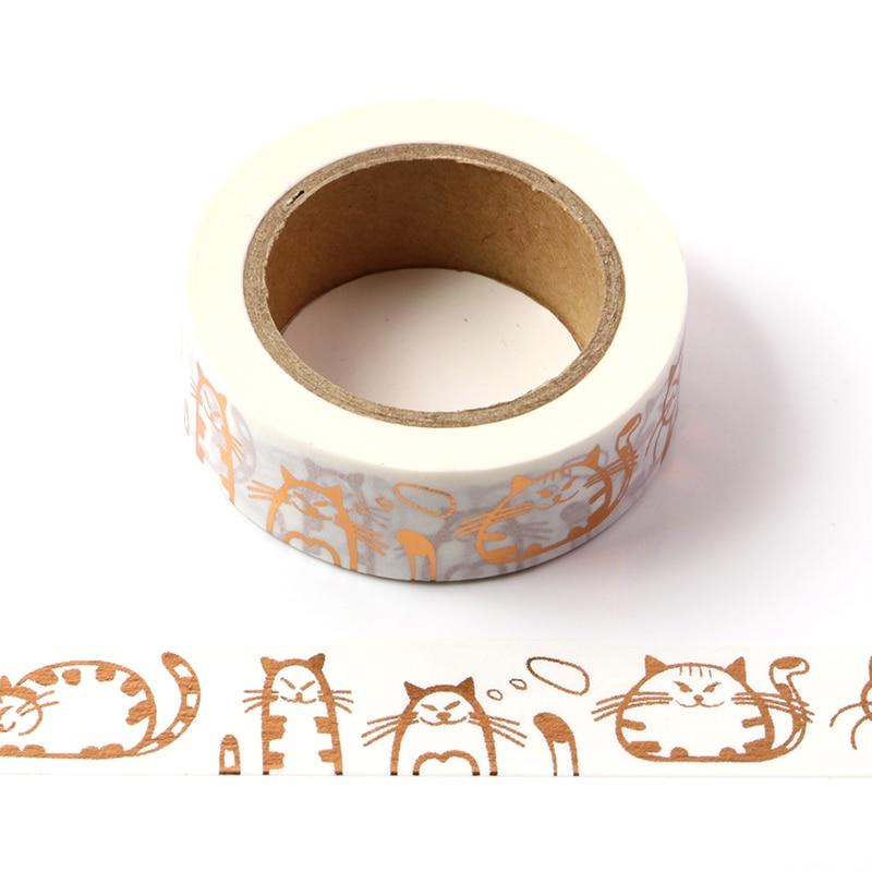 15mm*10m Kawaii Cat Gold Masking Washi Tape Decorative Adhesive Tape Decora Diy Scrapbooking Sticker Label Stationery