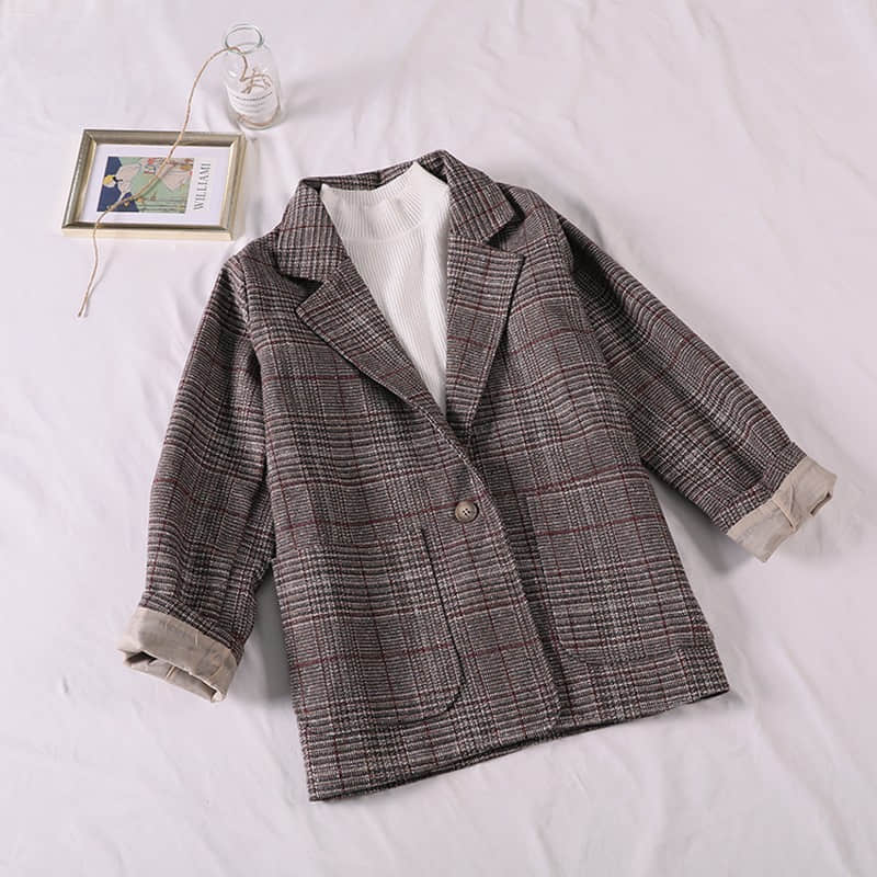 Casual Classic Office Lady Plaid Women Jacket Blazer Double Breasted Notched Collar Pockets Loose Jackets Female 2019 autumn