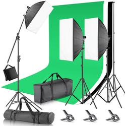 Neewer 2.6x3 Meters Backdrop Stand Support System with (3)1.8 x 2.8M Musline Backdrop (3)45W Bi-color Dimmable LED Softbox Light